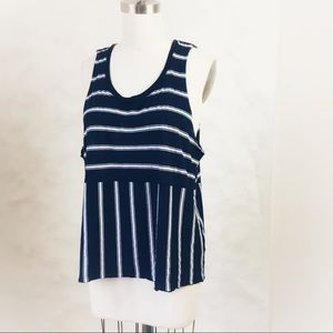 🇺🇸 MICHAEL STARS Stripe Scoop Drop Armhole Tank